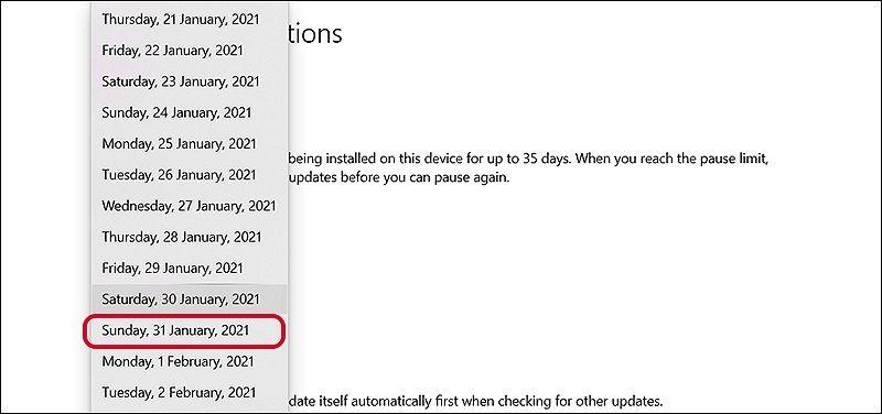 Chọn ngày muốn cập nhật Windows