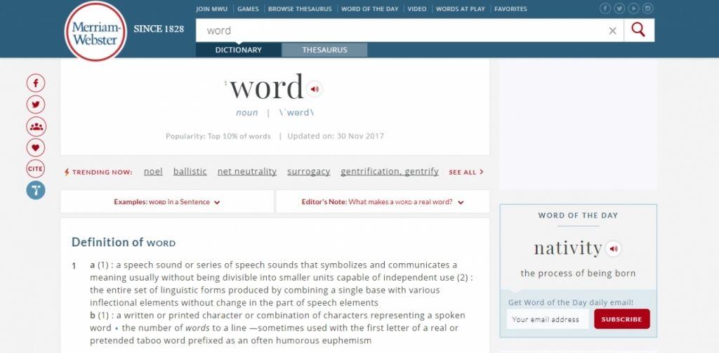 Tra từ tại Merriam-Webster