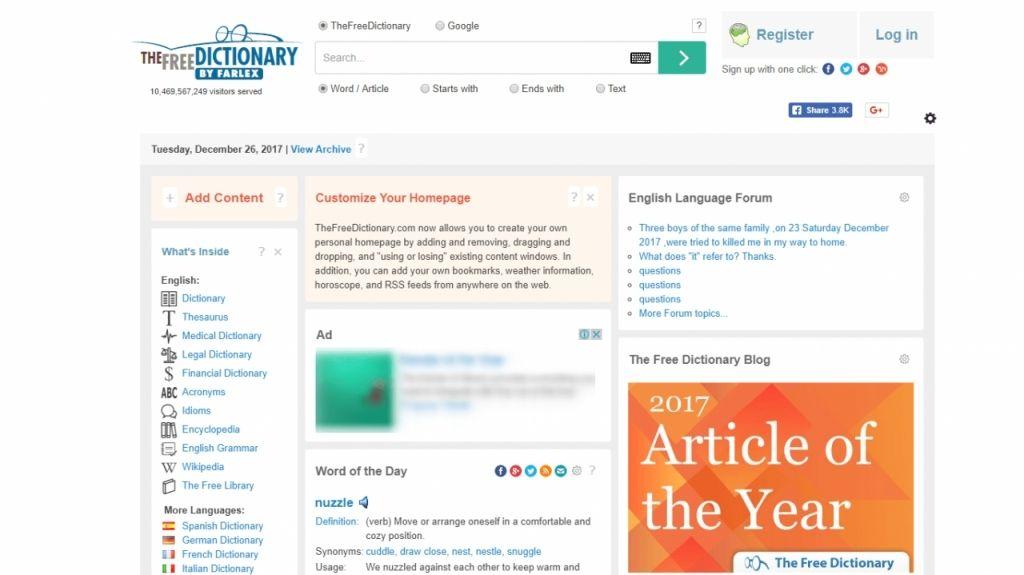 The Free Dictionary cho tra từ nhiều nguồn
